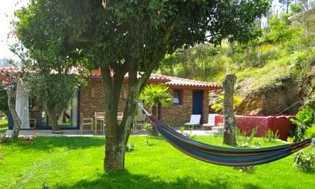 hammock between trees, Quinta dos Moinhos, Braga, Portugal