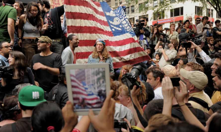 Demonstrators occupy Zuccotti Park on 30 September 2011. wall street