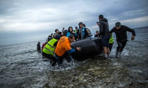 Refugees and migrants arriving on Lesbos in 2016.