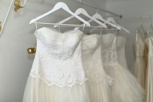 Wedding dresses on a rack