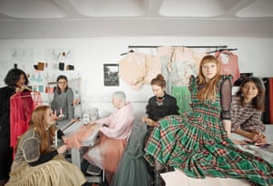 Fashion designer Molly Goddard and friends wearing her creations