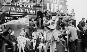 Joan Baez performs at a demonstration against the Vietnam war in Trafalgar Square in May 1965.