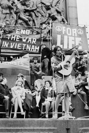 Joan Baez performs at an anti-Vietnam war demonstration in Trafalgar Square in 1965.