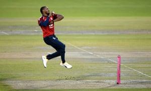 Chris Jordan of England bowls.