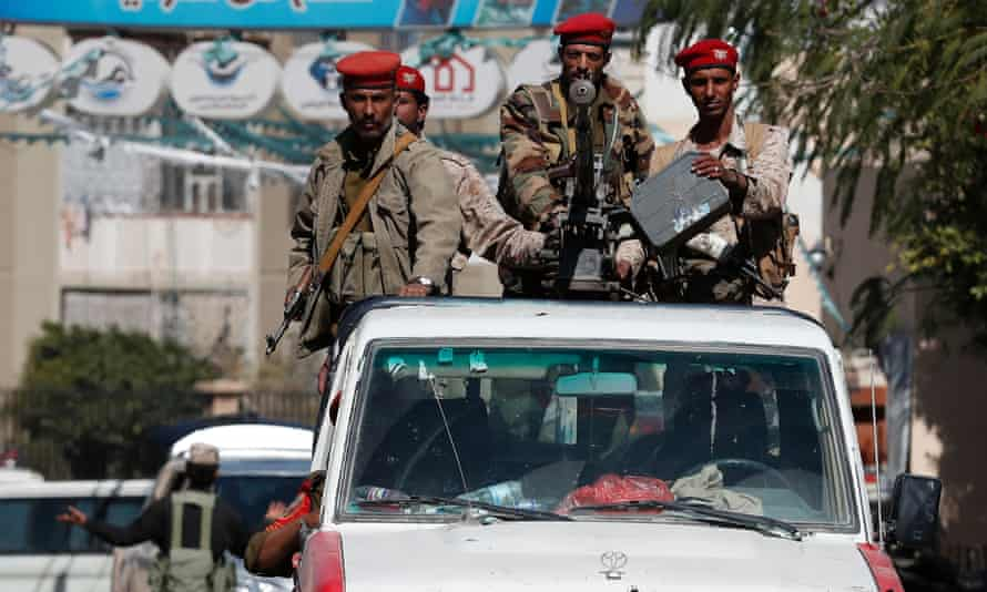 Pro-Houthi soldiers on patrol in Sana'a, Yemen on 17 February.