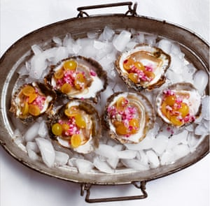 Oysters with pickled grapes.