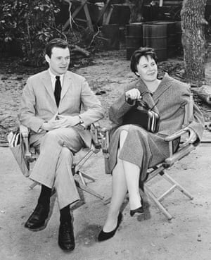 Watching the filming of a scene for the movie are producer Alan Pakula and Harper Lee.
