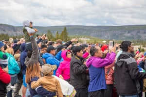 Crowds at Old Faithful in Yellowstone.