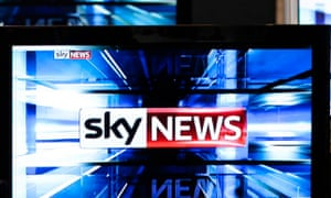 The Sky News logo is seen on television screens in an electrical store in Edinburgh.
