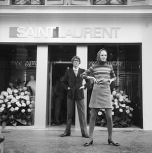 Saint Laurent opened his Paris Rive Gauche boutique in 1966 and it swiftly became a hangout, with queues forming outside the shop. No wonder – Rive Gauche was revolutionary. The ready-to-wear line was the first launched by a couturier. The ability to buy off-the-peg designs appealed to the new generation at the height of the 60s. Saint Laurent knew his market, too: he located the store in an area populated by students and sold the miniskirt.
