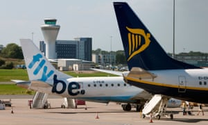 Flybe and Ryanair aircraft at an airport