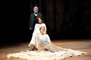 Kenneth Cranham (Firs), Zoe Wanamaker (Ranyevskaya), and Claudie Blakley (Varya) in The Cherry Orchard, 2011
