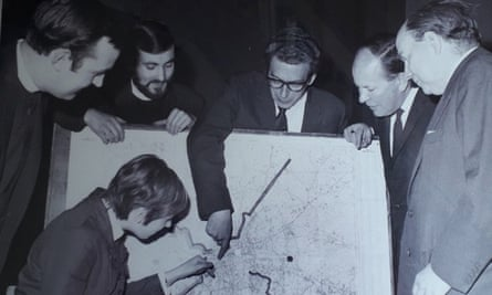 A meeting to launch Crisis in 1967: Nick Beacock, second left, standing, with, from left, David Moore, Bill Shearman, Reg Prentice and Ian Macleod, and in front, another colleague.