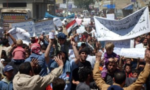 Anti-government protesters in Deraa in April 2011.