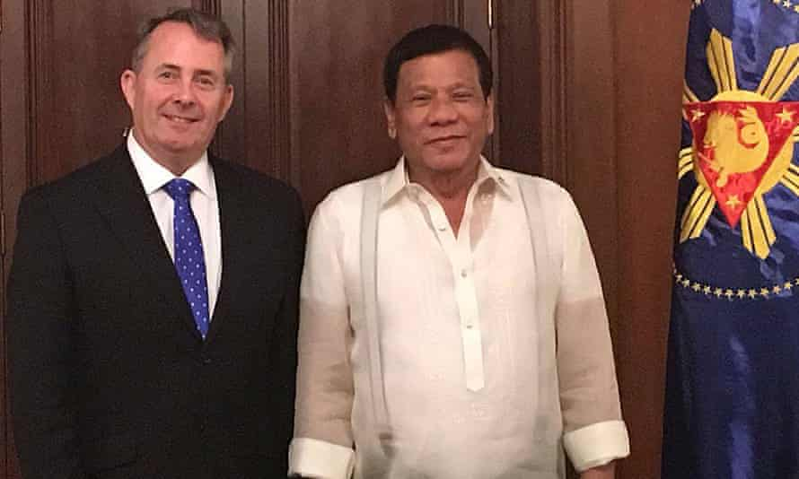 On Tuesday, Liam Fox was in the Philippines, greeting a president, Rodrigo Duterte, who compares himself to Hitler and brags of mass murder.