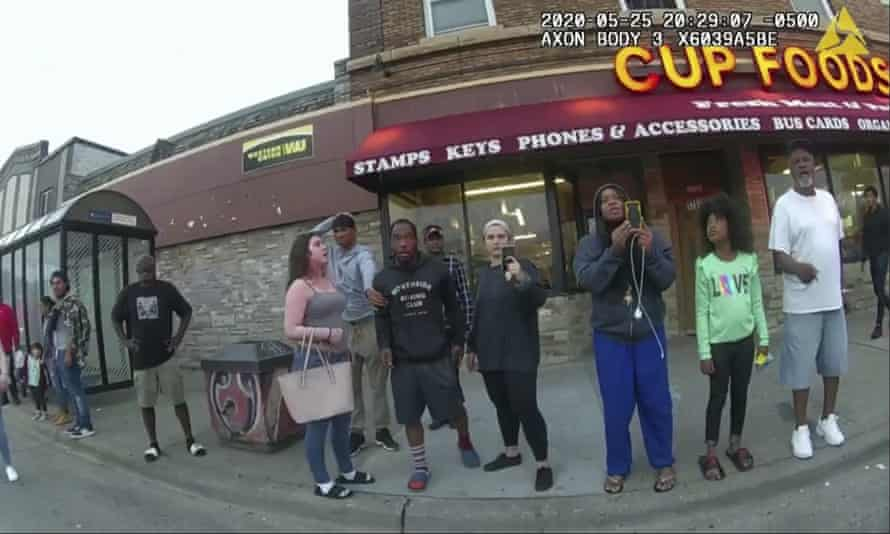 Darnella Frazier, third from right in blue pants, filmed George Floyd being crushed to death in Minneapolis on 25 May 2020.