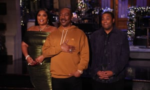Musical guest Lizzo, host Eddie Murphy, and Kenan Thompson during promos.
