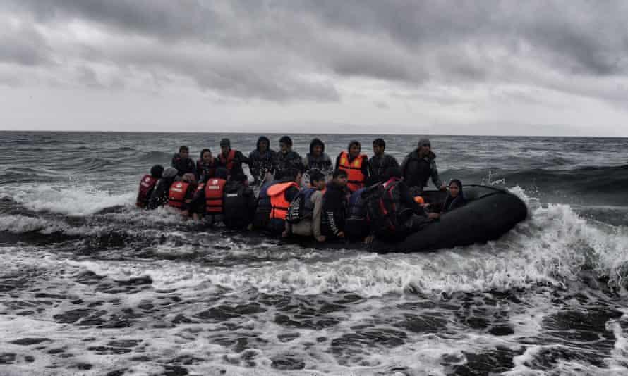 Refugees near Lesbos