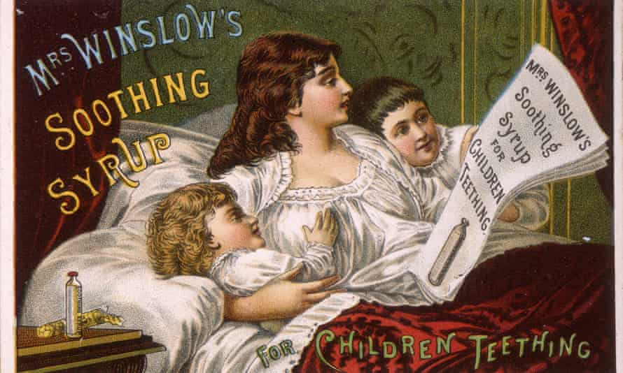 Mrs. Winslow's Soothing Syrup for Children TeethingMother and children reading in bed, undated. Lithograph, trade card, by M.M. & Litho. Co. (Photo by The New York Historical Society/Getty Images)
