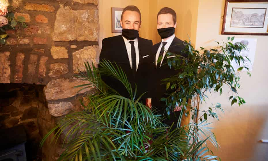 Cardboard cutouts of Ant and Dec at the Pen-y-Bont Inn