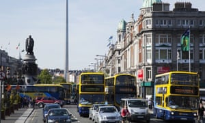 Congestion on O'Connell street in Dublin city, Ireland.