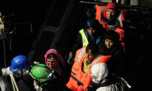 The Irish navy's LE Eithne rescued about 300 people from a barge 28 miles north of Libya on Friday.