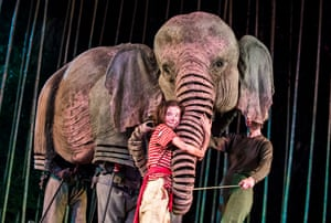 An adaptation of Michael Morpurgo's tsunami novel Running Wild, in 2016. Fittingly for a theatre that shares a park with London zoo, it featured a host of puppet jungle creatures (including an elephant, with Ava Potter, centre), alongside a large cast of children drawn from local schools