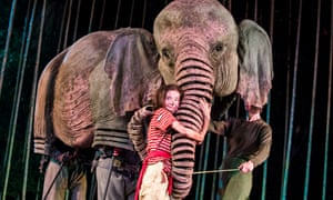 Oona the elephant, with Ava Potter playing Lilly, in Running Wild by Michael Morpurgo and Samuel Adamson.
