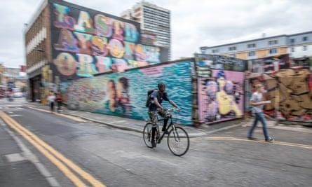 A cyclist on Rivington Street in London