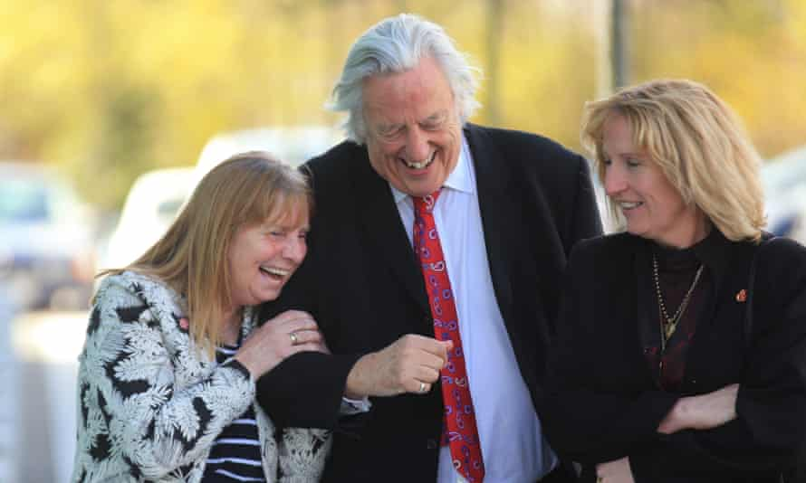 Margaret Aspinall (left), Michael Mansfield QC and Sue Roberts outside Birchwood Park after hearing the conclusions of the Hillsborough inquests.