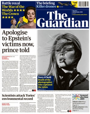 The Guardian front page, Monday 18 November 2019