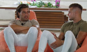 'How long did it take you to pull your pair on?' Kem and Chris in their skinnies on Love Island.