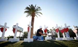 Greg Zanis works on one of the 58 white crosses he set up for the victims of the 2017 mass shooting in Las Vegas.