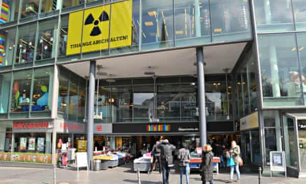 Aachen's oldest bookstore, Die Mayersche, has a 10m x 3m anti-nuclear poster in its storefront.