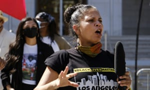 Melina Abdullah speaks during a Black Lives Matter protest in August.