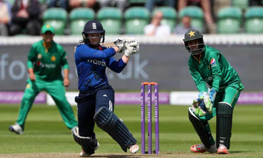 Tammy Beaumont hits out on her way to an unbeaten 168 for England against Pakistan in the Third Royal London ODI.