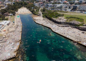 People gather at Clovelly Beach in Sydney on Saturday.