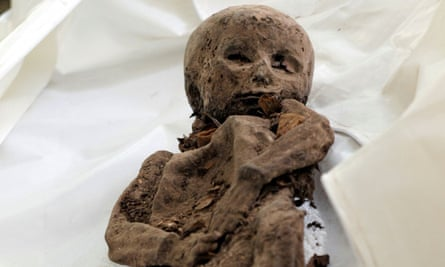 A mummified child in the Church of the Holy Spirit in Vilnius, Lithuania.