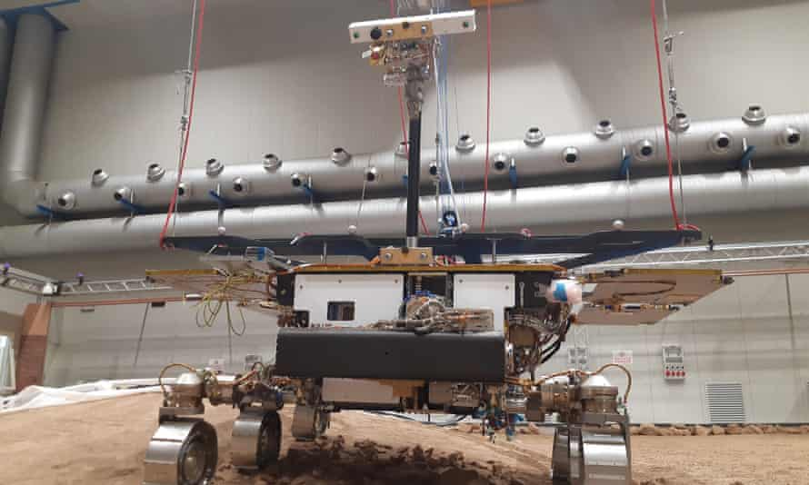 The replica of the Rosalind Franklin rover on simulated Mars terrain