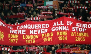Liverpool fans spell out their history.