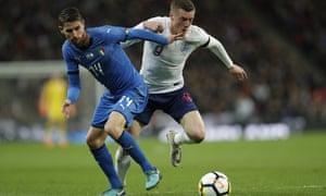 Jamie Vardy is chased by Italy's midfielder Jorginho.