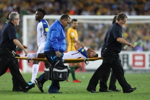 With so many fouls being committed it's inevitable that someone has had to go off injured. Emilio Izaguirre is the man carried off for Honduras just before the break.