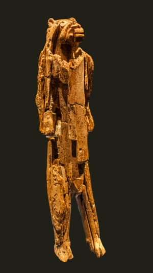 The lion man figurine, found in south-west Germany and carbon-dated to about 30,000 years ago, is an early example of figurative art.