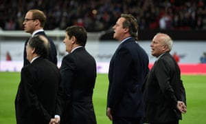 Prince William, David Cameron and Greg Dyke sing La Marseillaise in Wembley.