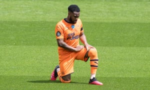 Danny Rose, on loan at Newcastle from Tottenham, takes a knee at Watford in July.