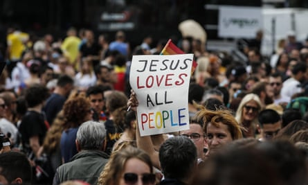 People attend a gay pride march in Rome last year.