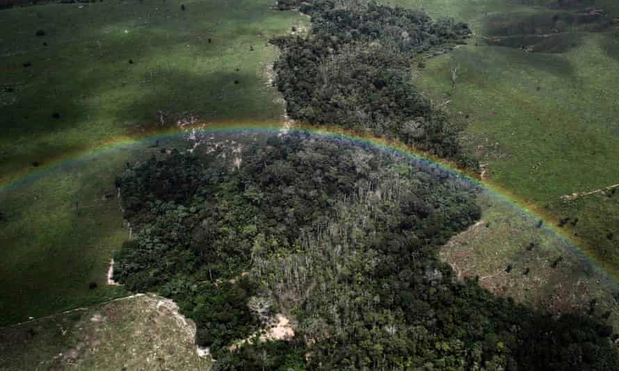 A rainbow over a tract of Amazon rainforest which has been cleared by loggers