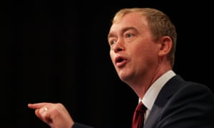Tim Farron, the Lib Dem leader, who will say: 'What does it mean to be an entrepreneur? It means believing that no one owes us a living.'