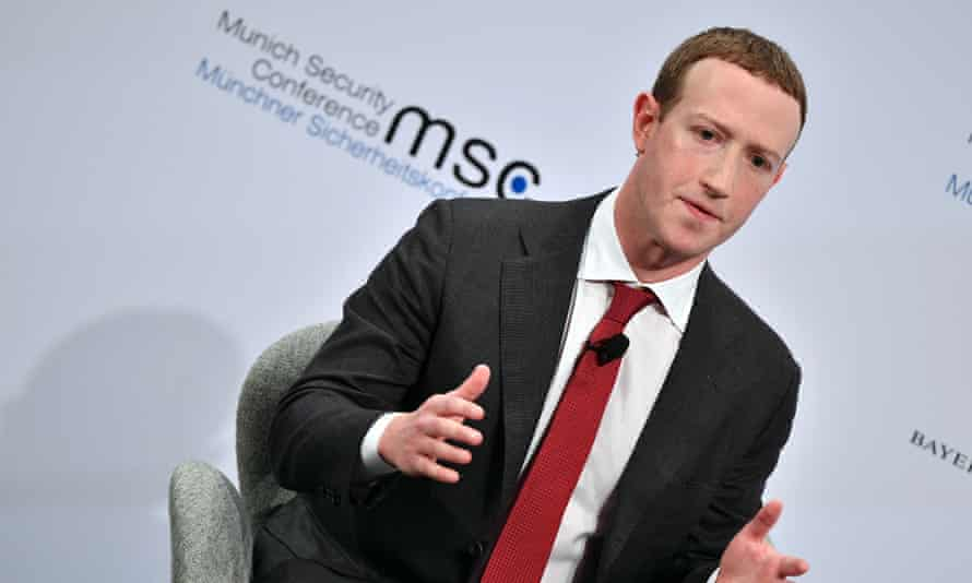 Facebook co-founder Mark Zuckerberg speaking at Munich Security Conference