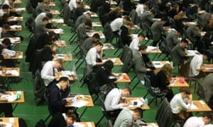 Girls and boys in an examination hall